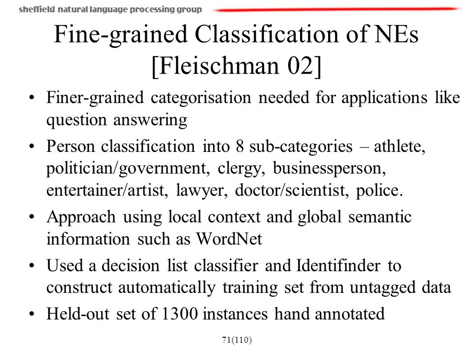 Fine-grained Classification of NEs [Fleischman 02]